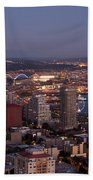 Seattle Skyline With Mount Rainier And Downtown City Lights Beach Towel