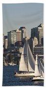 Seattle Skyline With Sailboats Beach Towel