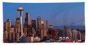 Seattle Winter Evening Panorama Beach Sheet