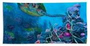 Secret Sanctuary - Hawaiian Green Sea Turtle And Reef Beach Sheet