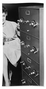 Secure Filing Cabinet Beach Towel by Underwood Archives