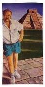 Self Portrait At Chichen Itza Beach Towel