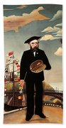 Self Portrait Beach Towel by Henri Rousseau