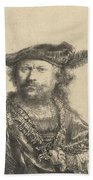 Self Portrait In A Velvet Cap With Plume Beach Towel by Rembrandt