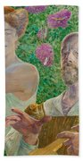 Self-portrait With Muse And Buddleia Beach Towel
