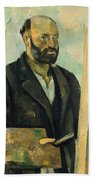 Self Portrait With Palette Beach Towel by Paul Cezanne