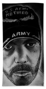 Self Portrait With Us Army Retired Cap Beach Towel