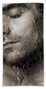 Sensual Portrait Of Man Face Under Pouring Water Black And White Beach Towel
