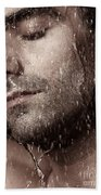 Sensual Portrait Of Man Face Under Pouring Water Beach Towel