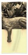 Sepia Cat Beach Towel by Rob Hans