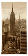 Sepia Empire State Building New York City Beach Towel
