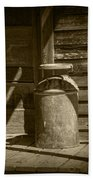 Sepia Photograph Of Vintage Creamery Can By The Old Homestead In 1880 Town Beach Towel