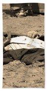Sepia Rodeo Gunslinger Victim Beach Towel