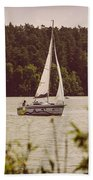 Sepia Sailing Beach Towel