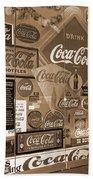 Sepia Toned Signs Of Coca Cola Beach Towel