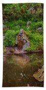 Serene Garden Pond Beach Towel
