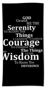 Serenity Prayer 5 - Simple Black And White Beach Towel