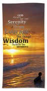 Serenity Prayer With Sunset By Sharon Cummings Beach Sheet