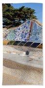 Serpentine Bench In Park Gueli In Barcelona Beach Towel