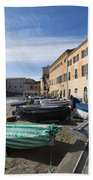 Sestri Levante And Boats Beach Towel