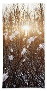 Setting Sun In Winter Forest Beach Towel