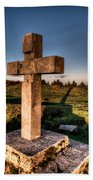 Setting Sun On A Cross By The Trenches Beach Towel