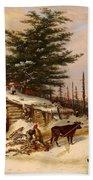 Settler's Log House Beach Towel