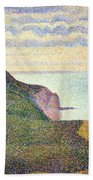 Seurat's Seascape At Port Bessin In Normandy Beach Towel