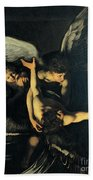 Seven Works Of Mercy Beach Towel by Caravaggio