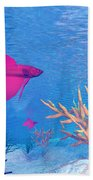Several Red Betta Fish Swimming Beach Towel