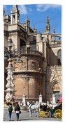 Seville Cathedral In The Old Town Beach Towel