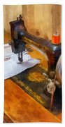 Sewing Machine With Orange Thread Beach Towel