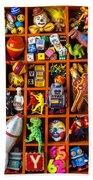 Shadow Box Full Of Toys Beach Towel