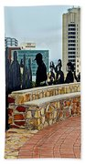 Shadow Representations Of People Coming To The Port In Donkin Reserve In Port Elizabeth-south Africa   Beach Towel