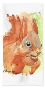 Shadow Tail Red Squirrel Beach Towel