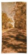 Shadows On Autumn Lane Beach Towel