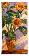 Shadows On Sunflowers Beach Towel