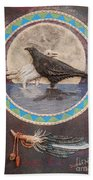Shaman Black Raven And His Mate Medicine Woman Blue Fairy Animal Spirit Medicine Wheel Beach Towel