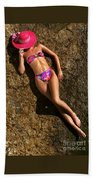 Shannon Pink Hat Beach Towel