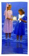 Sharing A Sparkler  Beach Towel