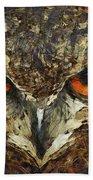 Sharpie Owl Beach Towel by Ayse Deniz