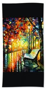 She Left... - Palette Knife Oil Painting On Canvas By Leonid Afremov Beach Towel