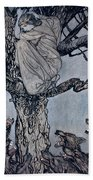 She Looked With Angry Woe At The Straining And Snarling Horde Below Illustration From Irish Fairy  Beach Towel