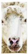 Sheep Art - White Sheep Beach Towel