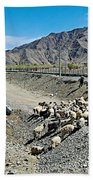 Sheep Crossing The Road To Shigatse-tibet  Beach Towel