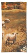 Sheep In October's Field Beach Towel