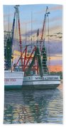 Shem Creek Shrimpers Charleston  Beach Towel by Richard Harpum