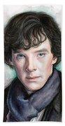Sherlock Holmes Portrait Benedict Cumberbatch Beach Towel by Olga Shvartsur