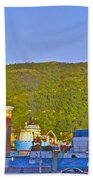 Ship At The End Of Water Street In Saint John's-nl Beach Towel