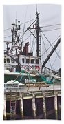 Ship Docked In Lunenburg-ns Beach Towel